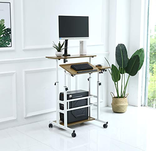 UNICOO- Rolling Laptop Cart, Height Adjustable Sit Stand Workstation, Mobile Standing Desk, Rolling Presentation Cart, Computer Workstation (Ancient Oak-U101)