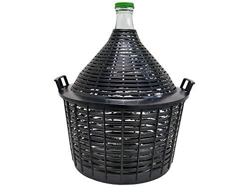 Weinballon Glasballon in Einem Plastikkorb - extra Qualität - italienisches Glas! Made in Italy!! (10 Liter)