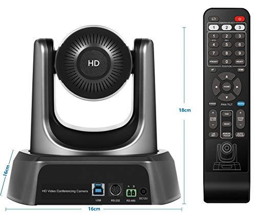 Tenveo NV3U | 3X Optischer Zoom Konferenzkamera, 1080p Full-HD Weitwinkel Webcam mit Fernbedienung, USB PTZ Kamera für Live Streaming, Videokonferenzen