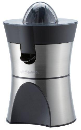 Gastroback 41138 Home Culture-Zitruspresse, elektrisch, Edelstahl-Siebeinsätze, INOX-Touch-Gehäuse, 100 Watt, schwarz, Silber