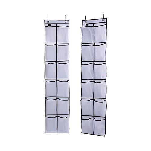 Paquete de 2 unidades para zapatos sobre la puerta, 12 grandes bolsillos de malla para colgar en la puerta de armario, color blanco