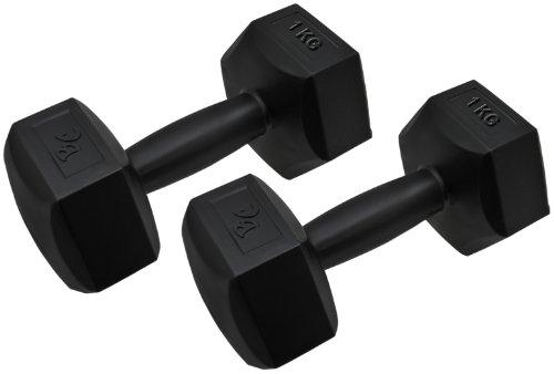 Bad Company Hexagon Hanteln I Kurzhanteln Kunststoff ummantelt für Aerobic, Gymnastik und Fitness I 2er Set 1 Kg (2 Kg)