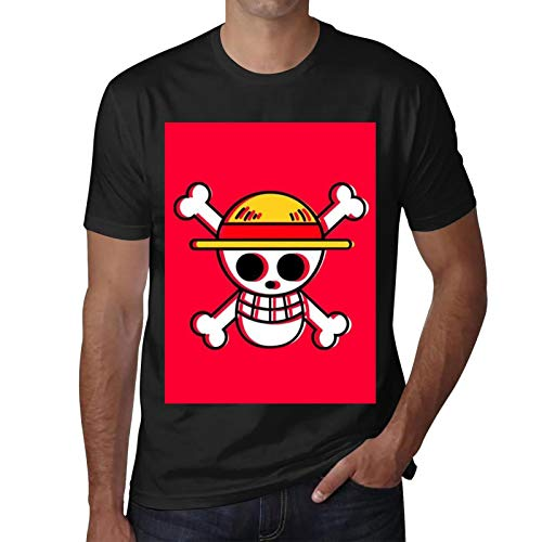 CAPINER On-e Pi-e-ce Lu-ffy Print T-Shirt Breathable Casual Short Sleeve for Mens Tee Shirts XXL Black