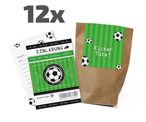 12x Fußball Einladungskarten + Partytüten - Set zum Kindergeburtstag / Fußballparty / Mitgebseltüten / Geschenktüten / Give-aways / Mitgebsel / Geburtstagseinladungen / Einladungen / Kinder / Set