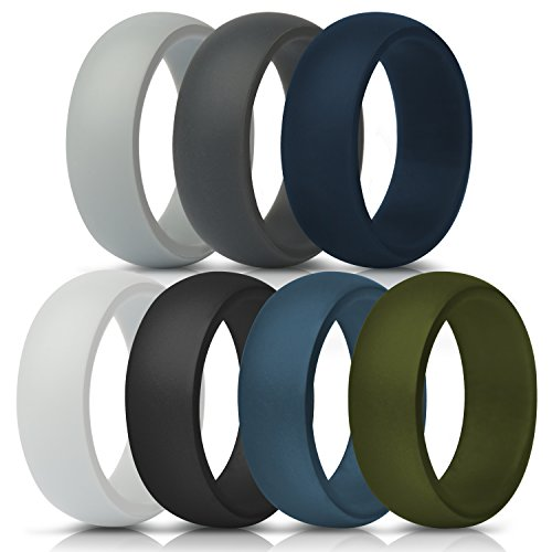 ThunderFit Silicone Rings, 7 Pack & Singles Wedding Bands for Men - Size 10