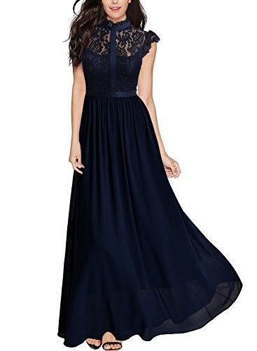 Miusol Vintage Gasa Encaje Fiesta Vestido Largo para Mujer Azul Medium