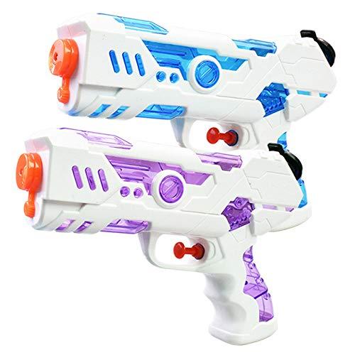 FLORMOON 2 pistole ad acqua da 250 ml, giocattolo in plastica, giocattolo per attività all\'aperto, divertimento estivo, per bambini, ragazzi e ragazze (blu e rosa)