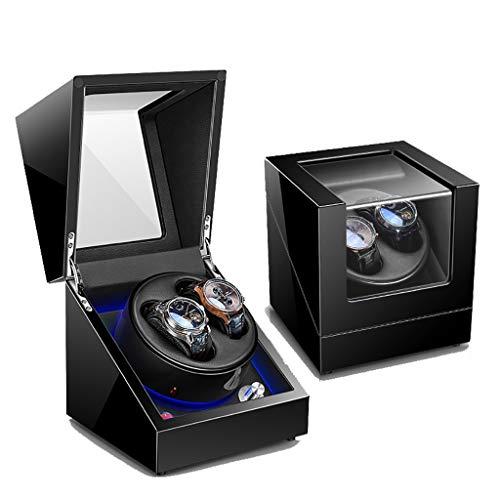 Cajas Giratorias Watch Winder Estuche de lujo con caja de enrollador de reloj automático doble for 2 relojes de pulsera con motor Mabuchi silencioso - 5 modos de rotación, luz ambiental LED, laca de p