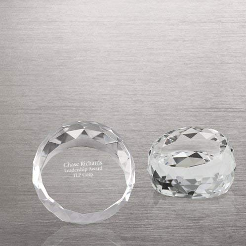 Baudville Engraved Paperweight - Crystal - Round with Beveled Edges - Personalized Engraving Up to Three Lines and Pre-Written Verse Selection - Comes in Gift Box - Award for Employees