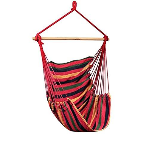 WHL Hamacas Silla portátil Hammock Travel Camping Home Dormitorio Bed Swing Silla Perezosa Muebles y Accesorios de Patio (Color : Red Stripe)