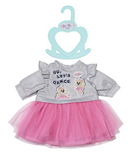 Zapf Creation 830567 BABY born Little Kleider rosa 36 cm - rosa Puppenkleid mit Tüll-Rock und grauem Pullover