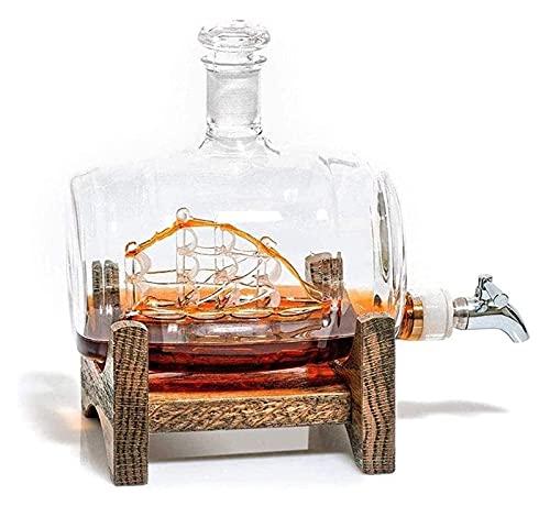 DIEFMJ Decantadores, dispensador de Acero Inoxidable para Barco de Vela, con Grifo, para Jarra de Whisky de Regalos de Ron escocés