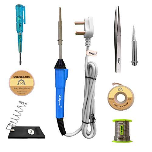Hillgrove 8in1 25W Soldering Iron, Tweezer, Soldering Iron Stand, Soldering Paste, Soldering Wire, Desoldering Wick, Pointed Bit,Tester