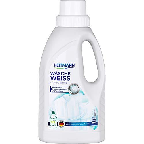 Heitmann Wäsche Weiß flüssig: Weißkraftverstärker für vergrauter Wäsche, Flüssigwaschmittel, Wäscheweiß, 500ml Flasche
