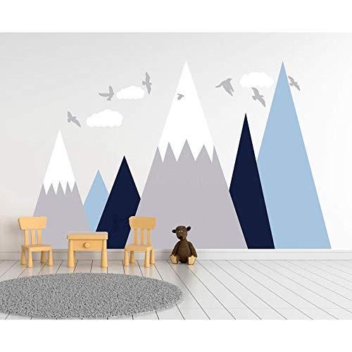TeriliziAdesivo Murale Paesaggio Adesivo Murale Camera Dei Ragazzi Adesivo Murale Vivaio Montagne Nuvole E Uccelli Adesivo Buccia E Sticker-121X200cm