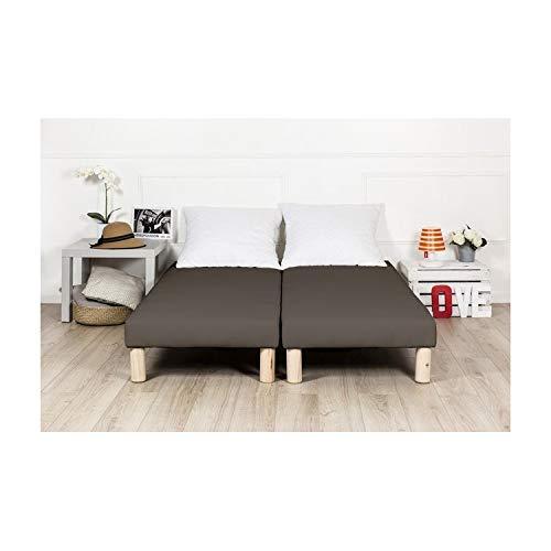 By sommiflex Sommier tapissier 180x200cm Marron Fabrique en France avec Pieds