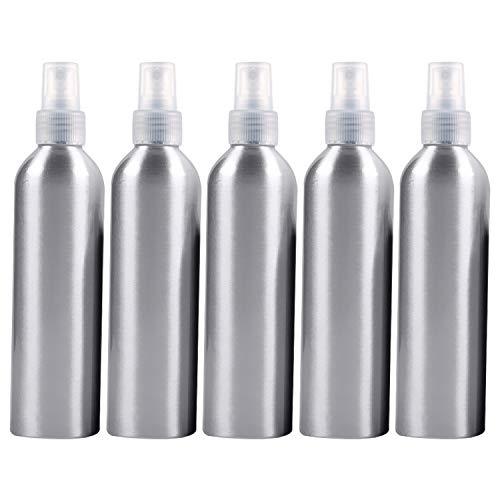 PAN-FR Bouteilles cosmétiques, 5 Bouteilles en Verre Rechargeables Fines de pulvérisateur de PCS Bouteille en Aluminium, 250ml Bouteilles de Rechange (Couleur : Transparent)