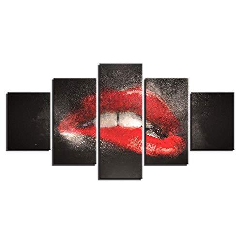 WLHAL Malerei auf Leinwand, HD-Prints, Dekoration des Hauses, 5-teilig, Lippenstift, Restaurant, Wandkunst, modular, Bilder, Artwork Hotel, Creative Plakat/40 x 60 cm x 2 40 x 80 cm x 100 cm