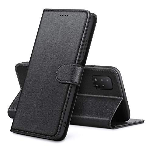 Lanhiem für Samsung Galaxy A51 Hülle, Samsung A51 Hülle, Handyhülle Samsung A51 Leder Flip Hülle Ständer PU Brieftasche Schutzhülle für Samsung A51 Cover, Schwarz
