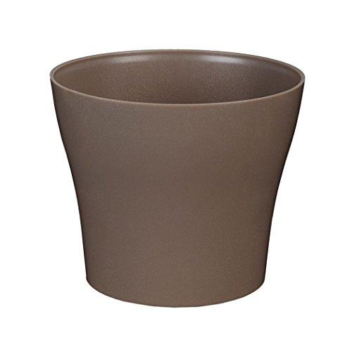 greemotion Pot de fleur rond 22 cm Tulipan couleur taupe - Pot à fleurs élégant en plastique pour l'intérieur et l'extérieur - Pot de fleurs zen aux lignes modernes