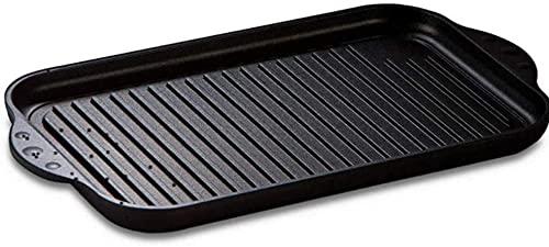 Lieblingspfanne - Grillplatte BBQ gerippt 43 x 28cm antihaftbeschichtete Grill-Wendeplatte Aluminium Guss für alle Herdarten und Gasgrill