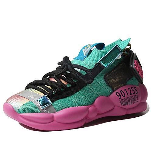 Dames Casual Schoenen, Herfst Nieuwe Sokken Schoenen Comfort Ademende Sneakers Lichtgewicht Hardloopschoenen 36 Groen