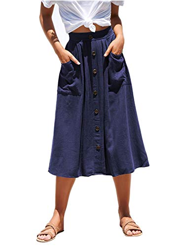 Azue Womens A Line Midi Skirt Elastic Waist Front Button Casual Pleated Skirt with Pockets Navy Blue Medium