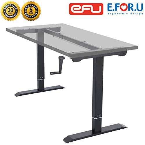 E.For.U® Q3 höhenverstellbarer Schreibtisch Kurbelverstellbares Tischgestell (Manuell, Schwarz)