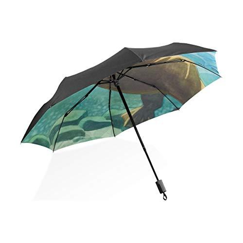 DEZIRO Grappig Dier Leuke Vet Bever Zwemmen Outdoor?Paraplu voor Zowel zon als regen waterdicht