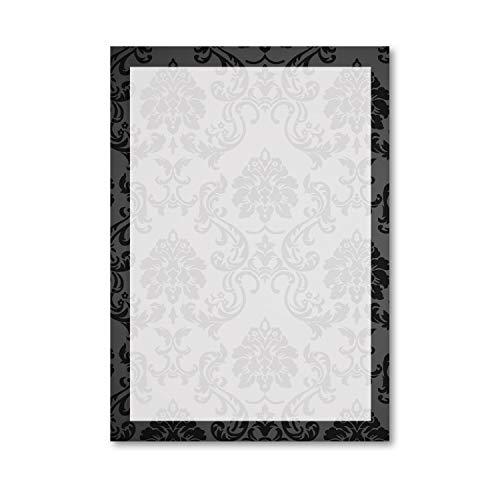 Briefpapier Set Ornamente I 50 Blatt Motiv-Papier in DIN A4 I schwarz weiß I Rahmen I edel für Hochzeit Geburtstag Einladung I dv_211