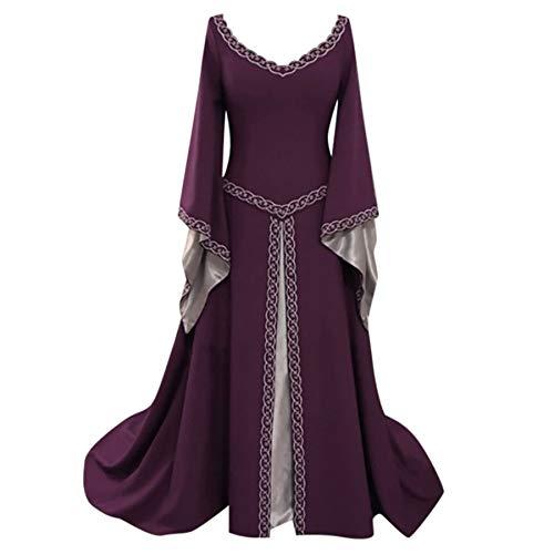 SALUCIA Damen Mittelalter Kleid Trompetenärmel Bodenlanges Retro Kostüm Gewand Gothic Renaissance Viktorianisches Prinzessin Kleidung Hexenkostüm
