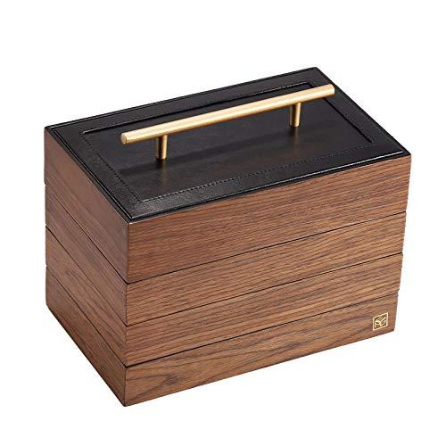 Madera Caja Joyero para mujer Retro Latón 4 capas Caja Organizadora de Joyas con cerradura Portátil grande Caja de Joyas para anillos, pendientes, collares, pulseras