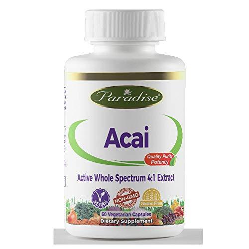 Paradise Herbs Acai Energy 4:1 400 Mg Vegetarian Capsules, 60 Count