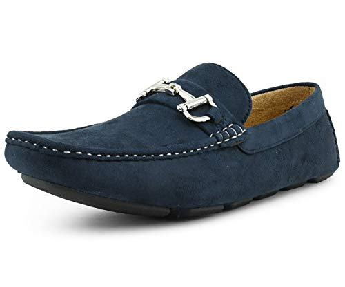 Amali Walken Men's Loafers Slip On Shoes – Casual Slippers for Men – Designer Driving Moccasins with Metal Bit and Detailed Stitching (Navy/10)