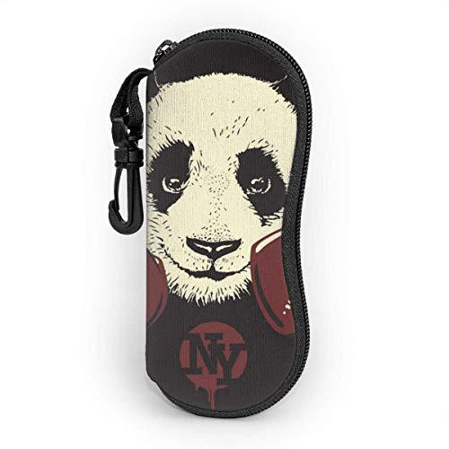 Ahdyr Panda mit Boxhandschuhen Herren und Damen Persönlichkeit Mode Langlebige tragbare Brillenetui 3.1 X 6.1In wasserdichtem Sonnenbrillenetui Reißverschluss Hartschale