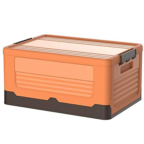 SUHETI Caja De Almacenamiento Plegable, Maleta De Plástico con Caja De Almacenamiento con Tapa, Contenedor De Caja De Almacenamiento Que Se Puede Apilar, Se USA para Guardar Ropa, Juguetes,Naranja