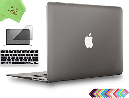 UESWILL 3in1 Smooth Matte Hard Shell Case Cover for MacBook Air 11 inch (Model: A1370/A1465) + Keyboard Cover and Screen Protector + Microfibre Cleaning Cloth, Gray