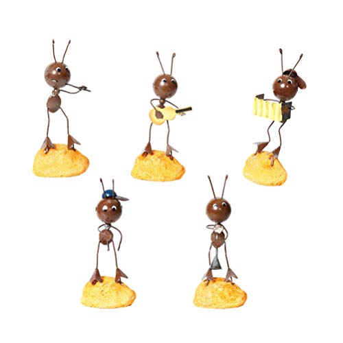 Healifty Artesanías de Hierro Arte Hormiga Banda de Música Estatuilla Modelos Jugar Música Esculturas Estatua Adornos de Escritorio para Regalo de Año Nuevo 5 Piezas