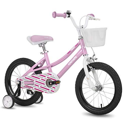 CYCMOTO 16quot Kids Bike with Basket Hand Brake amp Training Wheels for 4 5 6 Years Girls Toddler Bicycle Pink
