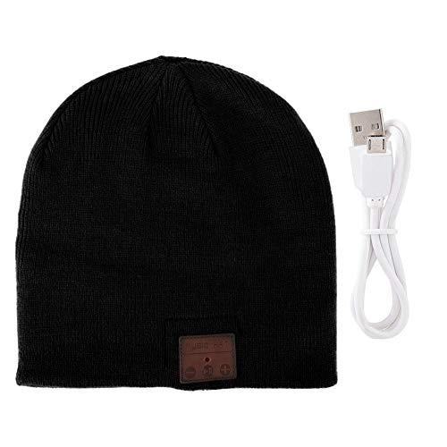 Oumij Bluetooth-beaniehoed, 130 mah Bluetooth 4.2-10 meter en meer draadloze afstand-met koptelefoon, Winter Warm Strong Skull Running gebreide muts voor heren Dames Buitensporten (zwart)