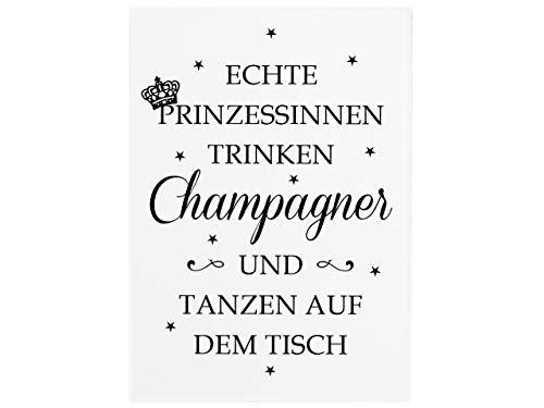 Interluxe wandbord houten bord echte prinses drinken champagne kroon meidels vriendin