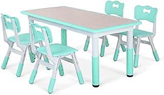 Ensemble Table et Chaises pour Enfant,Table d'enfant, Inclus 1 Table et 4 Chaises, Table à Dessin Réglable en Hauteur pour...
