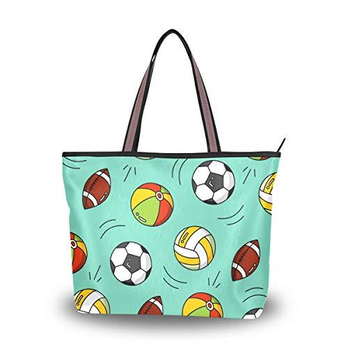 WowPrint Damen Sporttasche, Fußball, Rugby, Basketball, große Kapazität, Schultertasche für Schule, Arbeit, Reisen, Einkaufen, Strand