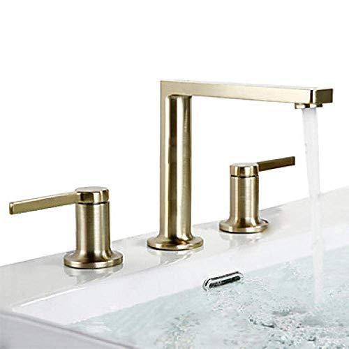 DJY-JY - Grifo para lavabo de baño ranurado para lavabo o lavabo de baño con dos asas y tres agujeros