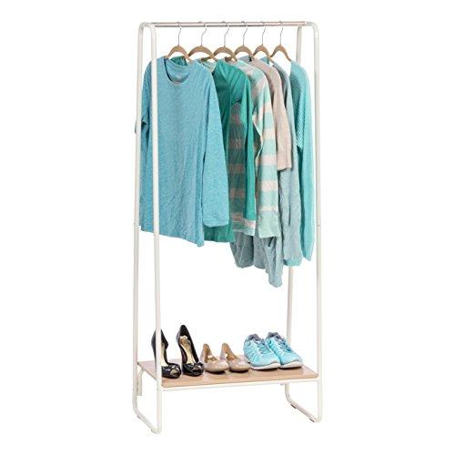 IRIS USA Metal Garment Rack with Wood Shelf, White and Light Brown PI-B1