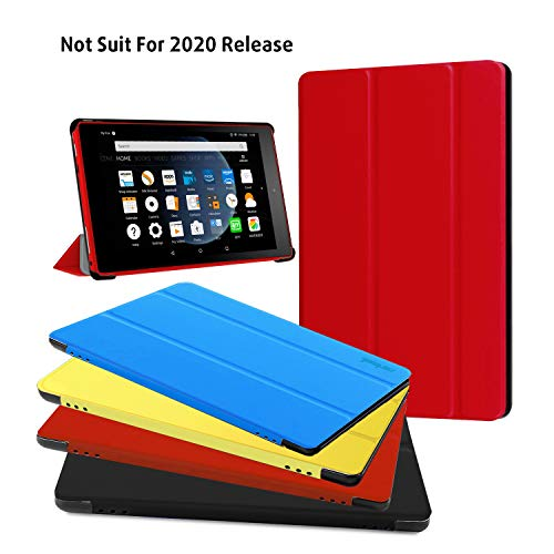 Fire HD 8 Case - Zerhunt Ultra Light Slim Fit Protective Cover with Auto Wake/Sleep for Fire HD 8 Tablet (2018/2017 Release,8th/7th Generation) Red, Not Suit for 10th 2020 Release