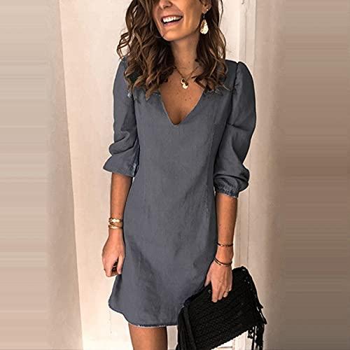 VCAOKF Vestido de mujer de algodón y lino con mangas cortas, camisa vaquera con flecos en otoño, vestido de manga larga de estilo vaquero, monocolor, gris, azul claro, negro, azul oscuro. gris L