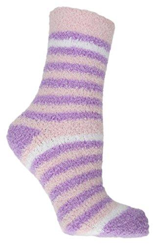 RJM, Snowsoft, Damen-Socken, gestreift, Größe 37-40, violett