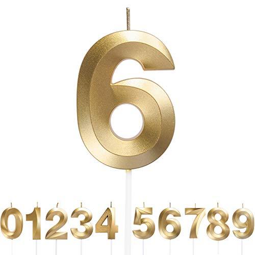 URAQT Velas Cumpleaños, Velas de Pastel de Cumpleaños Doradas, Velas de Números 6 para Cumpleaños/Aniversario de Bodas/Fiesta de Graduación, Número 0-9 para Elegir