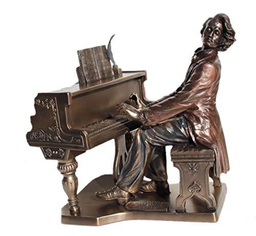 Frederic Chopin playing Piano Bronze Figurine Statue